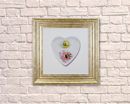 Small Heart Dessert Champagne 55cm Frame 3D Artwork